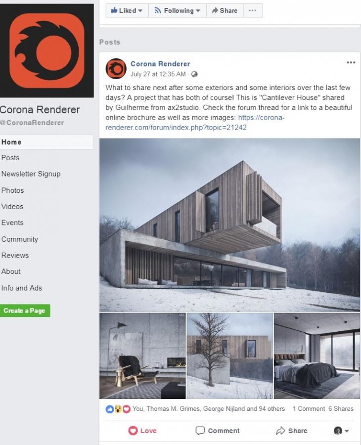 Corona Renderer Facebook